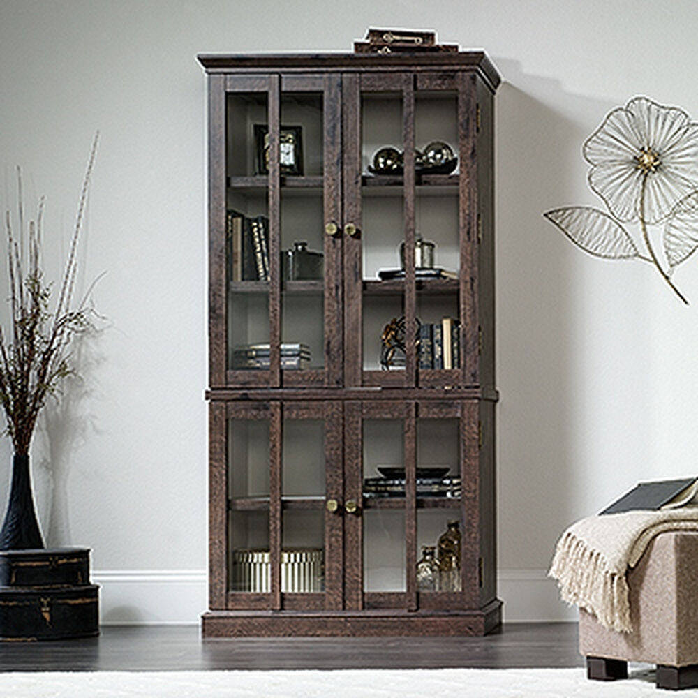 Contemporary Tempered Glass Tall Display Cabinet in Coffee ...