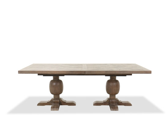 "88.5"" Casual Double Pedestal Dining Table in Brown"