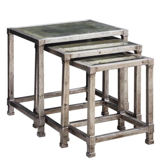 Three-Piece Nesting Tables in Antiqued Silver