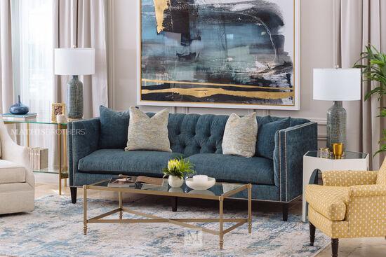 "Contemporary 92"" Tuxedo Sofa in Blue"