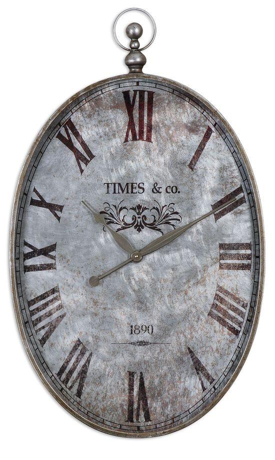 Distressed Pocket Watch Wall Clock