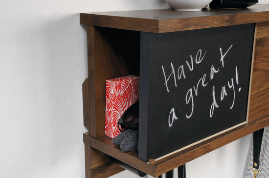 Contemporary Wall Organizer with Chalkboard in Walnut