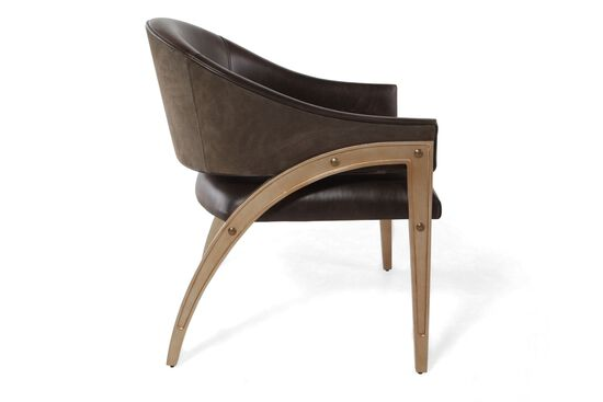 Arch-Back Leather Chair in Dark Wine