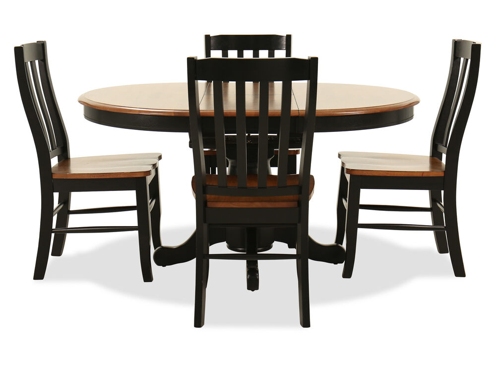 Navy And Gold Dining Room, Five Piece Traditional Round Extension 42 To 57 Dining Set In Satin Ebony Mathis Brothers Furniture