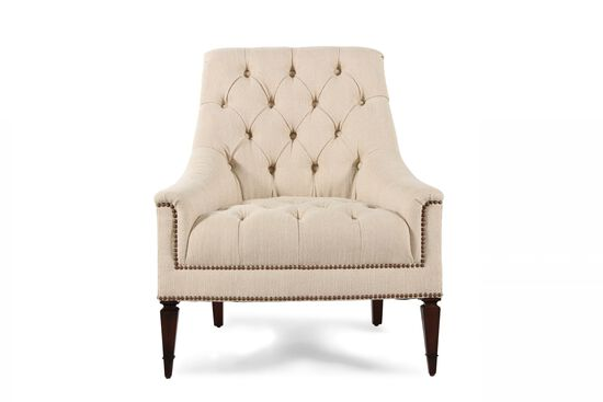 "Button-Tufted Traditional 33"" Chair in Cream"