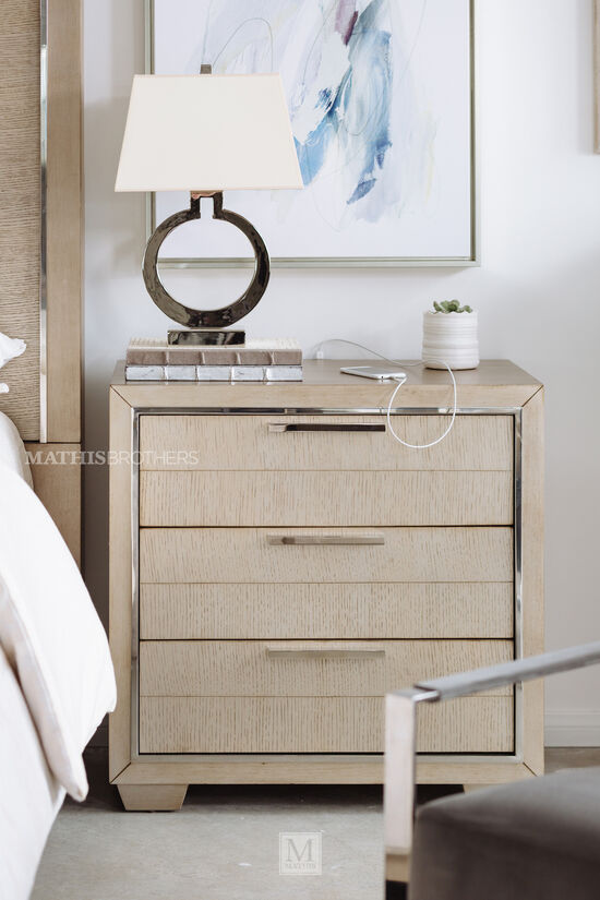 """29.5"""" Transitional Three-Drawer Nightstand in Brown"""