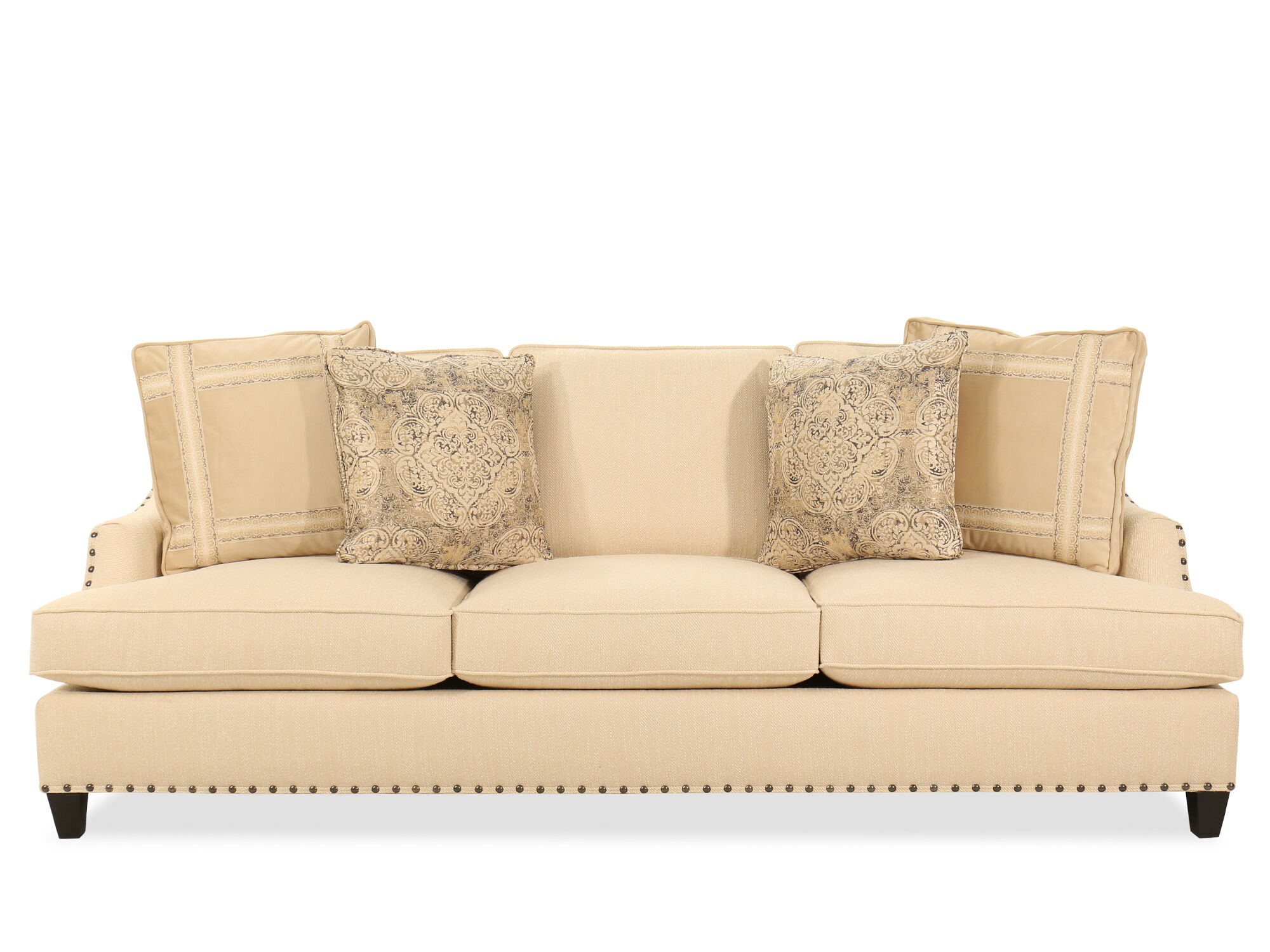 Nailhead-Accented Contemporary Sofa in Beige | Mathis Brothers Furniture