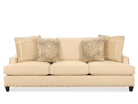 Nailhead-Accented Contemporary Sofa in Beige