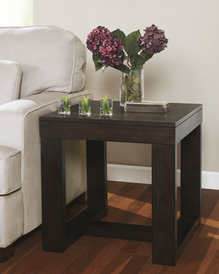 Contemporary Rectangular End Table in Dark Brown