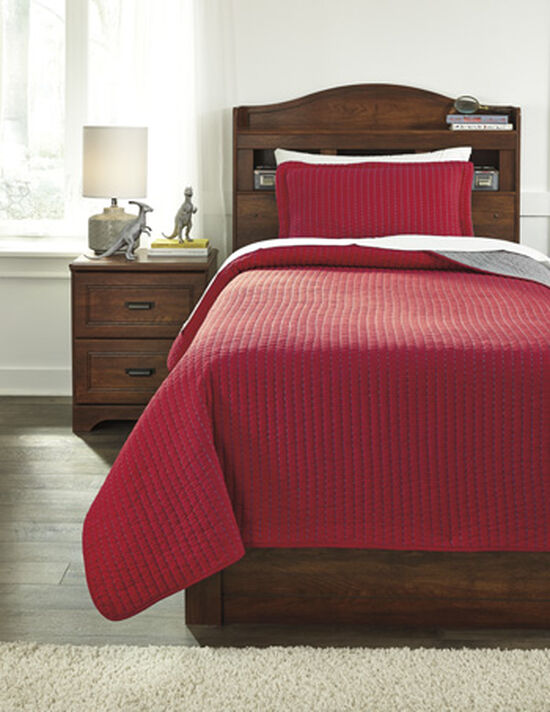 Two-Piece Striped Reversible Twin Coverlet Set in Red/Gray