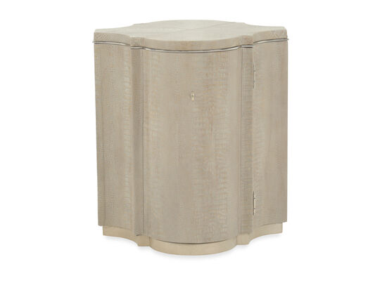 Transitional Crocodile-Patterned Drum Table in Brown