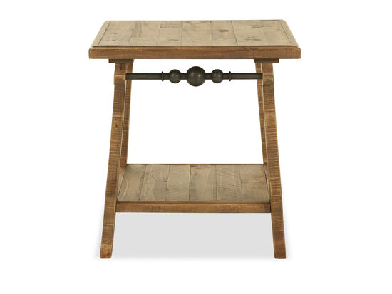 Traditional Rectangular End Table in Brown