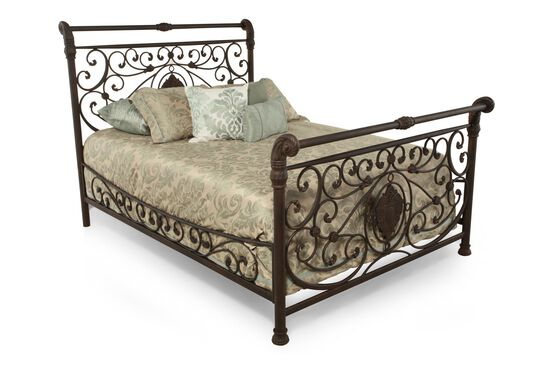 """56.5"""" Formal Scrollwork Bed in Antique Brown"""