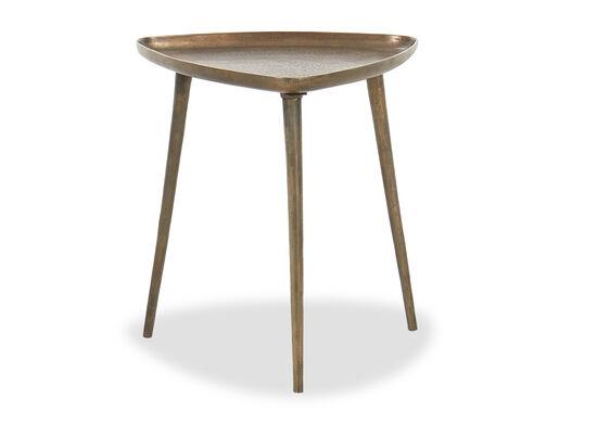 Triangular Cast Aluminum Contemporary End Table in Antique Dark Brass