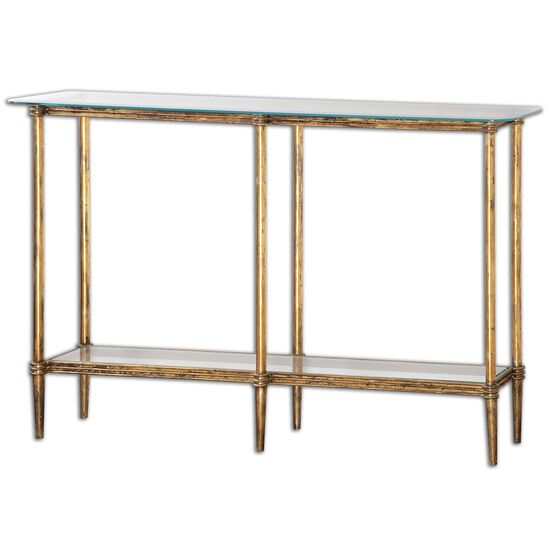 Tempered Glass Console Table in Gold Leaf