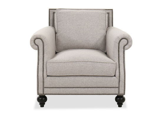 """Nailhead-Trimmed 39.5"""" Contemporary Chair in Gray"""