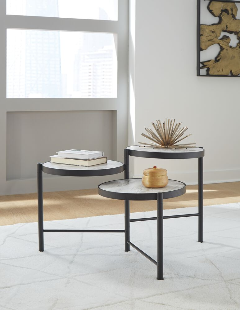 Plannore Black White Round Cocktail Table Mathis Brothers Furniture