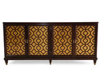 Fligree Insert Transitional Entertainment Console in Dark Walnut