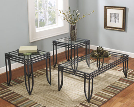 Three-Piece Contemporary Occasional Table Set in Black