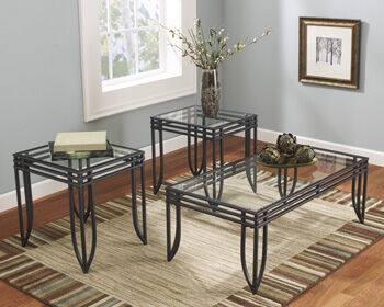 Three Piece Contemporary Occasional Table Set In Black