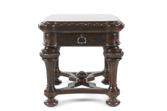 Rope-Carved One-Drawer End Table in Port