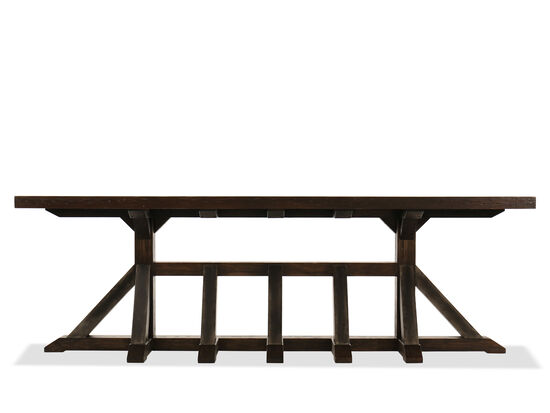 Pedestal Base Casual Console Table in Dark Walnut