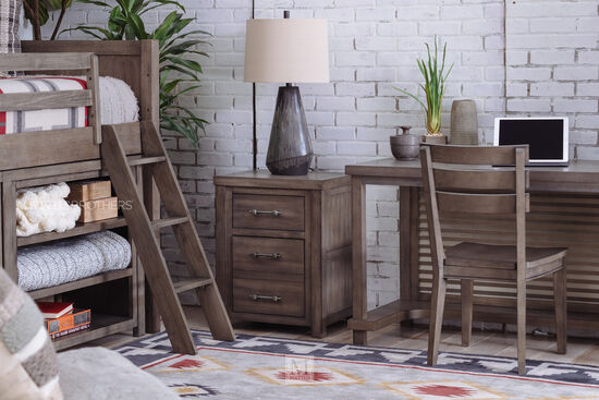 Transitional Two-Drawer Youth Nightstand in Aged Barnwood