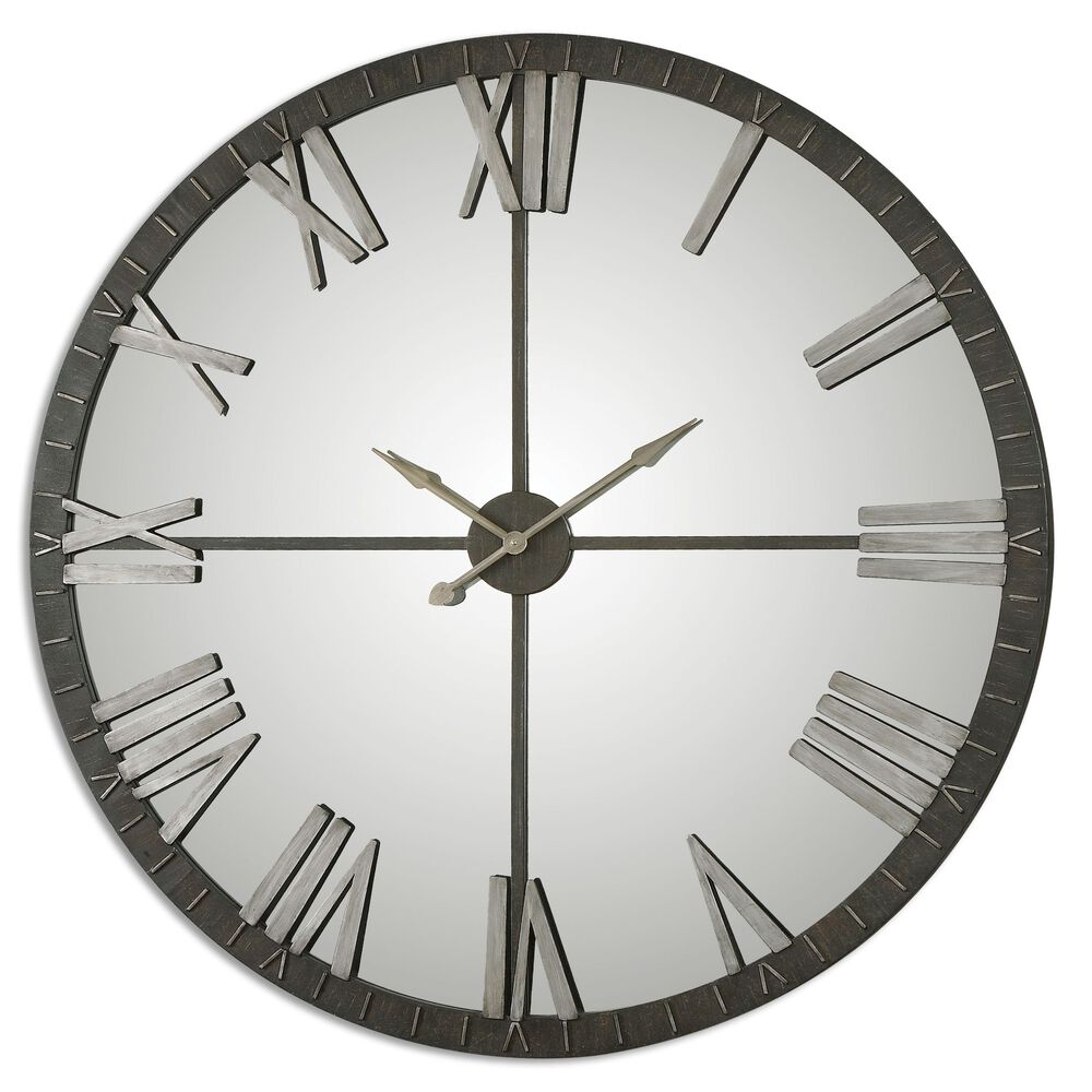 Mirrored Large Wall Clock in Rustic Bronze | Mathis ...