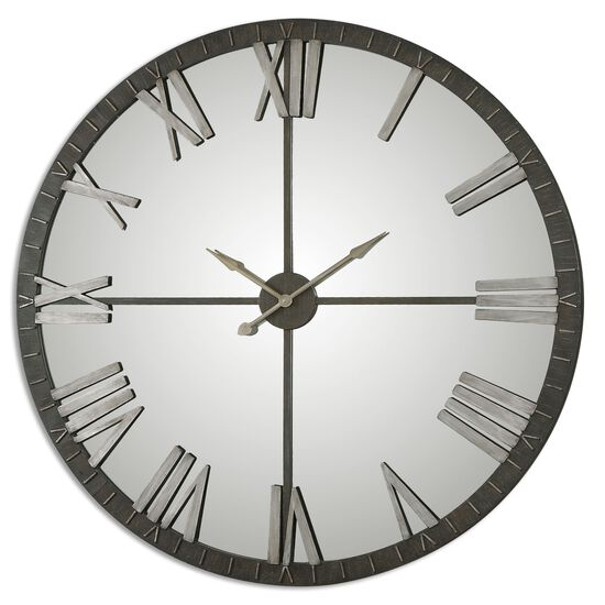 Mirrored Large Wall Clock in Rustic Bronze