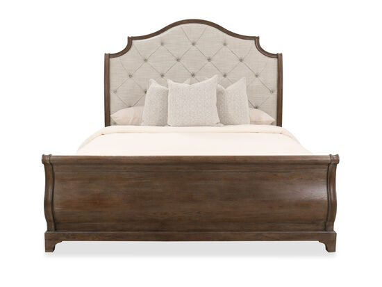 """74"""" Button-Tufted Traditional King Sleigh Bed in Peppercorn"""