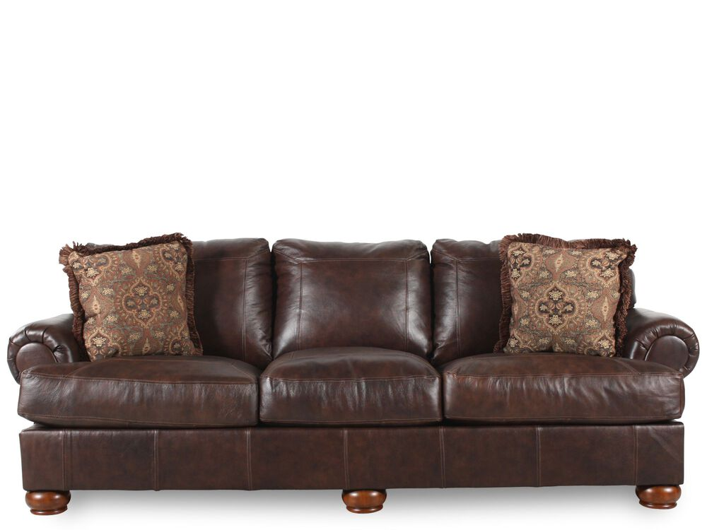 Traditional 100 Quot Sofa In Dark Walnut Mathis Brothers Furniture