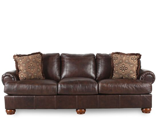 "Traditional 100"" Sofa in Dark Walnut"