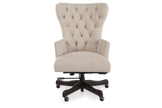 Button Tufted Swivel Desk Chair in Natchez Brown