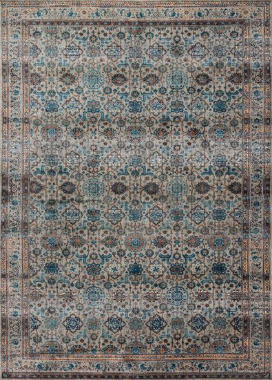 "Contemporary 2'-7""x4' Rug in Fog/Multi"