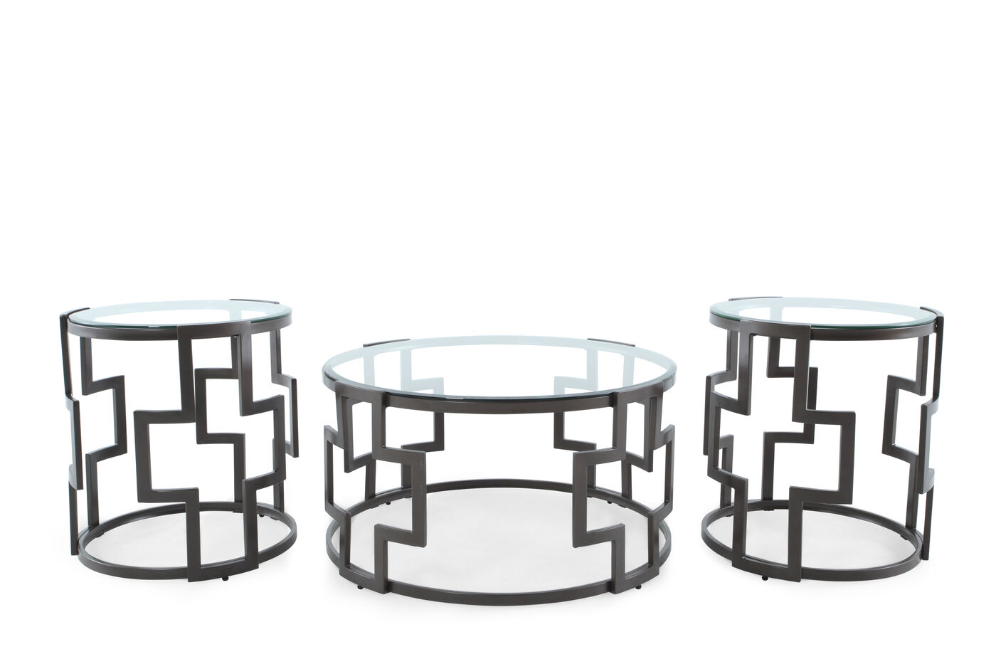 Three-Piece Round Contemporary Table Set in Grey | Mathis Brothers ...