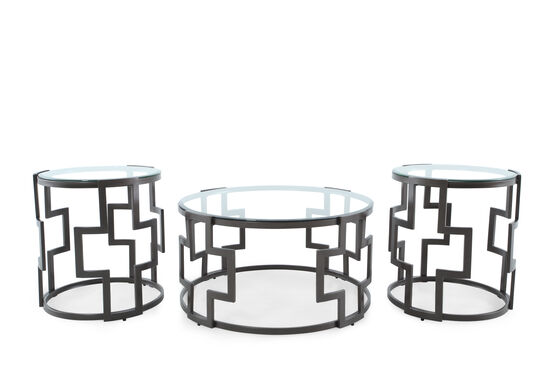Three-Piece Round Contemporary Table Set in Grey