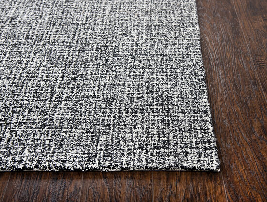 "Casual/Transitional Hand-Tufted 2'6""  x  8' Runner Rug in Black/White"