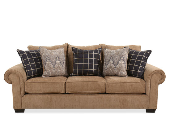 "95"" Rolled Arm Transitional Sofa in Brown"