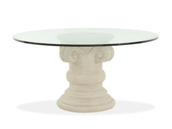 "Refined Romantic Luxury 60"" Round Glass-Top Dining Table in Oyster"
