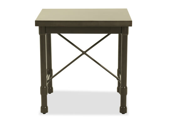 Square Modern End Table in Metallic Gray