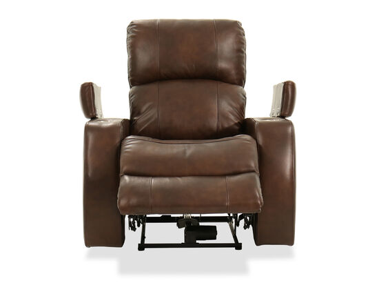 Two-Cup Holder Leather 37'' Power Recliner in Brown