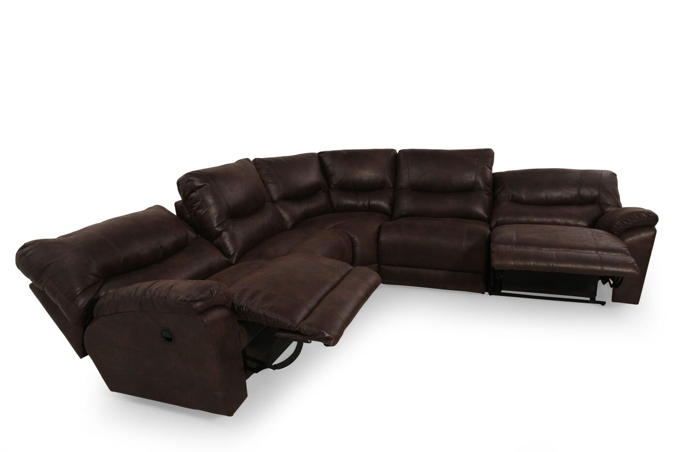 Five Piece Leather Reclining Sectional In Brown Mathis Brothers  ~ Five Piece Sectional Sofa