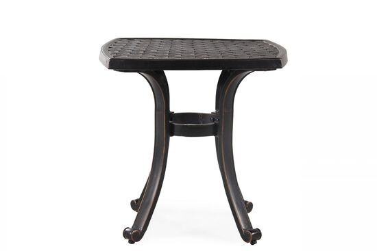Transitional Aluminum Square End Table in Brown