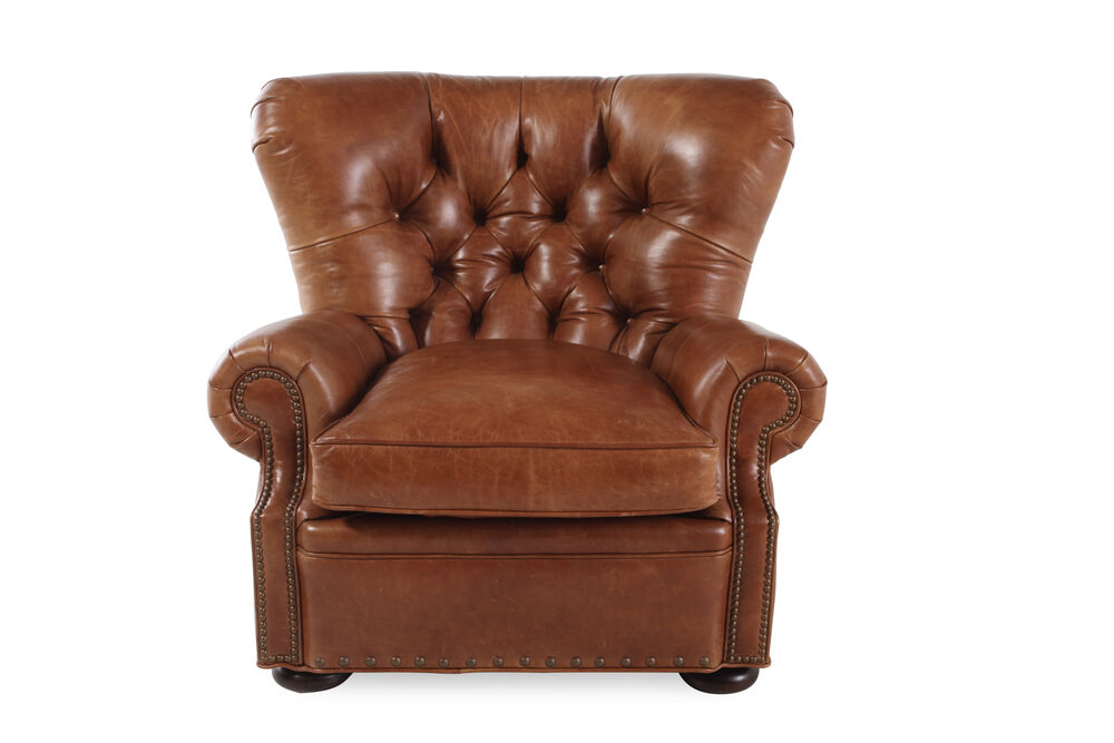Nailhead Trimmed Leather 41 Chair In Mahogany Mathis Brothers