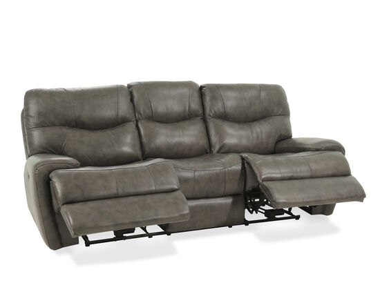 """Leather 92"""" Power Reclining Sofa in Gray"""