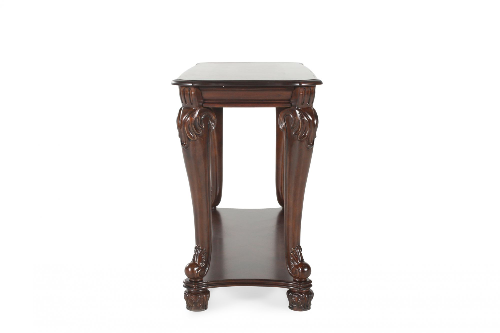 Traditional Chippendale Leg Sofa Table in Dark Brown ...