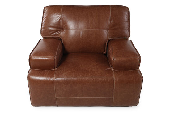 """Leather 47"""" Power Recliner in Caramel"""
