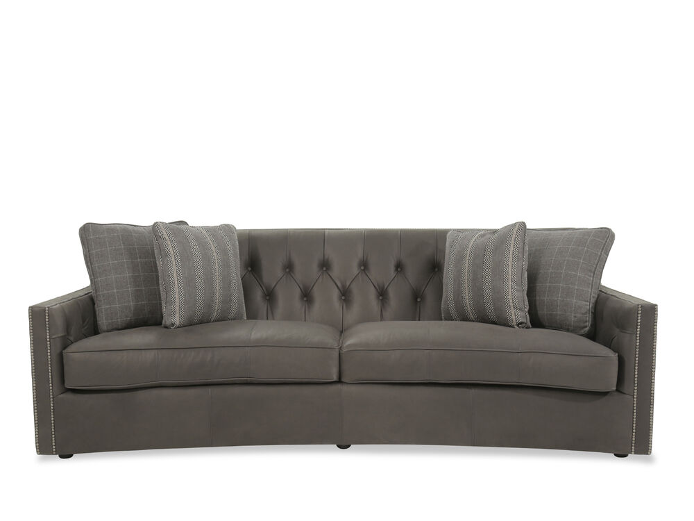 Button tufted leather 96 sofa in gray mathis brothers furniture for Mathis brothers living room furniture