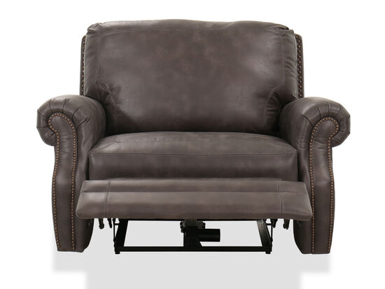 Casual Nailhead-Accented Reclining Cuddler in Gray