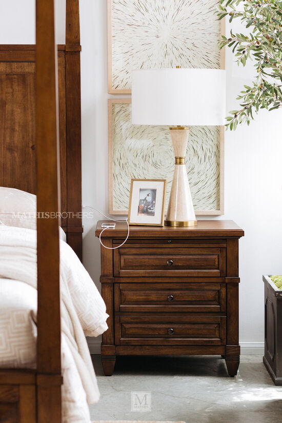 """29"""" Two-Drawer Transitional Nightstand in Sienna"""